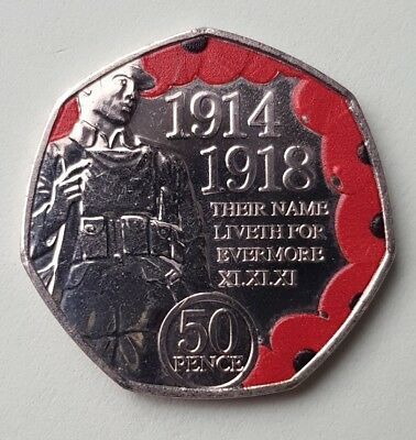 2018 ISLE OF MAN 50p Pence Coloured Armistice Day WW1 Remembrance Poppy Coin