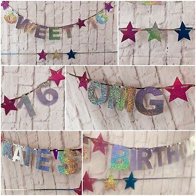 PERSONALISED 16th 1st 21st 18th 13th Birthday Party Banner Sweet16 Decor bunting