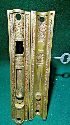 PAIR of 1884 CORBIN 'BROCADE' POCKET DOOR MORTISE LOCKS w/KEY, (11676)