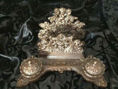 Solid Brass Vintage Louis XV Rococo Bronze Inkwell Letter Holder Two Ink-wells