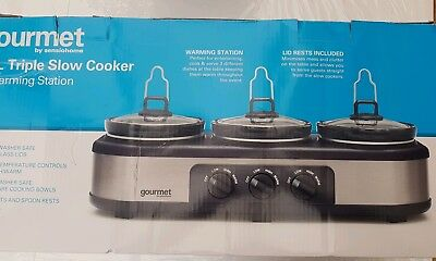 Gourmet by Sensiohome 7.1L Triple Slow Cooker/Buffet Server Warming Station