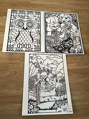 Large Owl,cat,puppies Adult/ Child Velvet Colouring Picture Boards