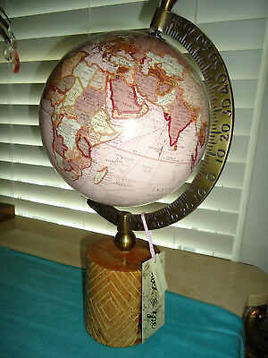 Alex And Zoe Pink Decorative Table World Atlas Globe Wood Base Nwt