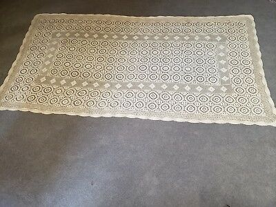 Vintage Beautiful Off White Crochet Tablecloth 100% Cotton Hand Made 108x60
