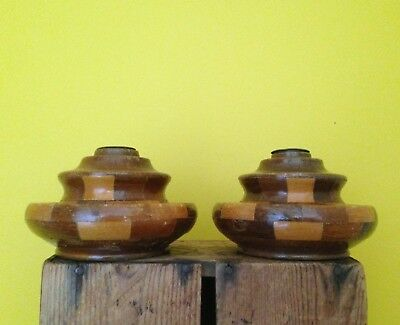 Vintage deco 40's look checkerboard wood wooden candle sticks dressing table