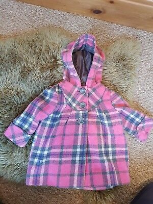 Pink check Mothercare coat size 6-9 months