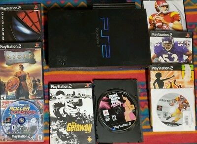 PS2 BUNDLE Console System 9 GAMES 2 Controllers Memory Card Playstation Lot VG