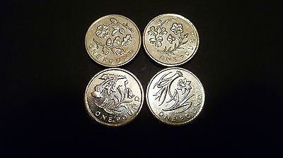 Rare Full Set Of 4 £1 / One Pound Uk Flower Coins - 2013 & 2014 - Good Condition