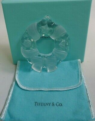 1999 Tiffany & Co. Clear Crystal Wreath Boxed Christmas Ornament - Signed