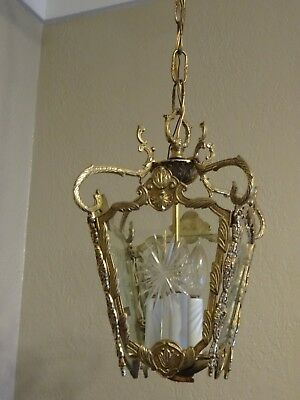 Antique French Victorian Four Panel Brass Hanging Light Pendant Decor