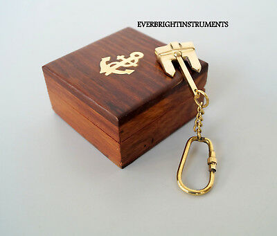 Nautical Vintage Brass Anchor Key Chain With Wooden Box  Gift Item