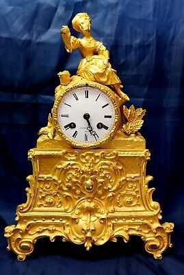 Beautiful French C 1840 silk suspension bronze ormolu mantle clock