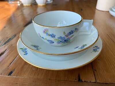Meissen Porcelain Cup, Saucer & Plate, Mixed Color Flower Pattern