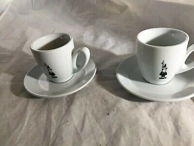 Bialetti cup and saucer set 4 Pcs Expresso Espresso Tinto 2-3oz