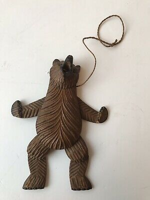 Antique Vintage Black Forest Hanging Articulated Carved Grizzly Bear.