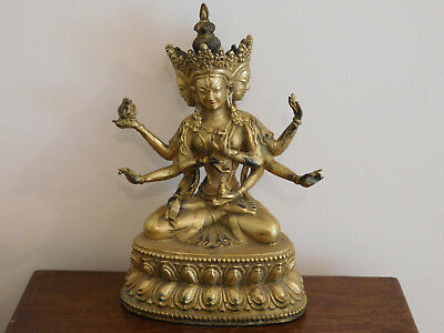 Gilded Bronze Figure Of A Tibet Or Chinese Deity. Buddhist?