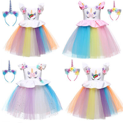 Kids Girls Unicorn Costume Tulle Tutu Fancy Dress Cosplay Party Week Suit Outfit