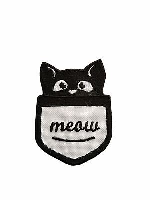Cute Pocket Cat Iron On Embroidered Patch Sew On Jeans Hat Badge Jacket Applique
