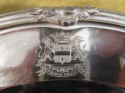 1880 french sterling silver round platter rococo Marquis coat of arms Bellescize