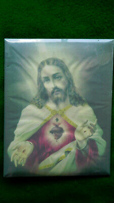 Vintage Jesus Sacred Heart Celluloid tin backed picture