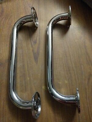 2x Strong Chrome Metal Bath Handles - Safety Support Bar / Rail