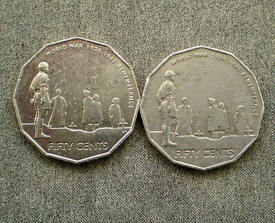 ERROR 'PAIR' 2x 50 cent 2005 Commemorative's CUD to Chaplin's Robe - Both Coins