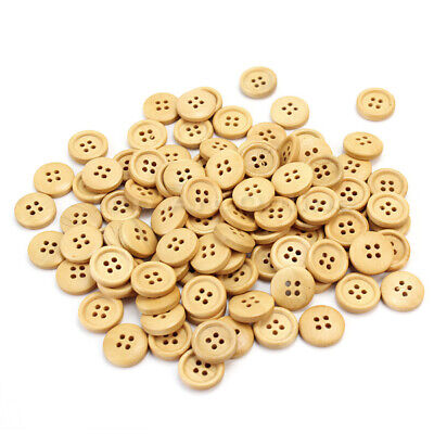 100 Pcs Wooden 4 Holes Round Wood Sewing Buttons DIY Craft Scrapbooking 15mm