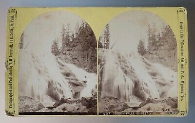 #1107 T.W. Ingersoll View Yellowstone Wyo. Ter. Gibbon Falls. 80 Feet High.