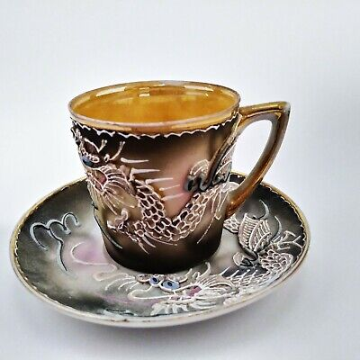 Vintage Raised Dragon Tea Cup and Saucer Hand Painted Japan