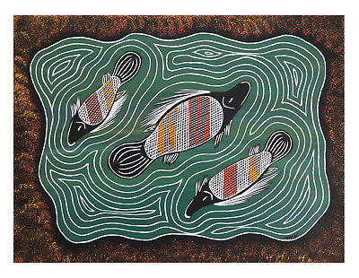 Original Aboriginal Art Stretched Canvas (40x30) - Black Bream on Country