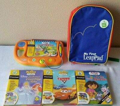 Leap Frog My First LeapPad Learning System LOT - Backpack, 4 Books, 3 Cartridges