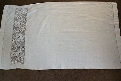 Vintage white linen cloth with crochet detail on one end.