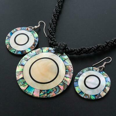 ROUND PAUA ABALONE MOTHER OF PEARL BLACK BEADED necklace & earring SET
