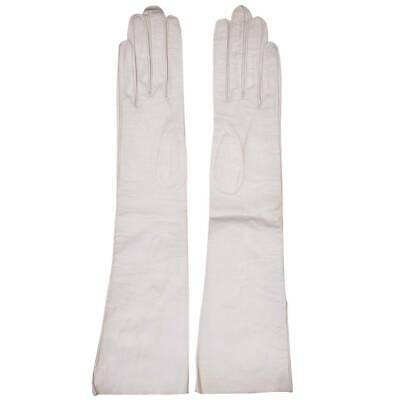 Vintage Christian Dior Long White Kid Leather Gloves Made in France Ladies Size