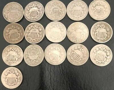 Bulk (16x) Shield Nickels (1866-1883)(USA)