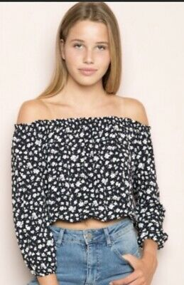 c97293ac44023 Brandy Melville Off the shoulder top Navy white floral Maura Ruffle One Size