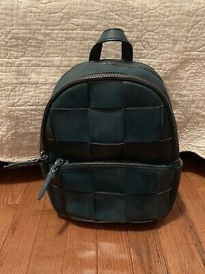 744ae71ee35 PATRICIA NASH JACINI Slate Woven Collection Teal Green Blue Leather  Backpack New