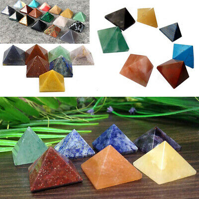 1pc Natural Crystal Healing Gem Stone Pyramid Reiki Minerals Jewelry Collectable