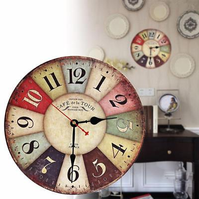 Vintage Wooden Wall Clock Shabby Chic Rustic Retro Kitchen Home Antique Decor FT