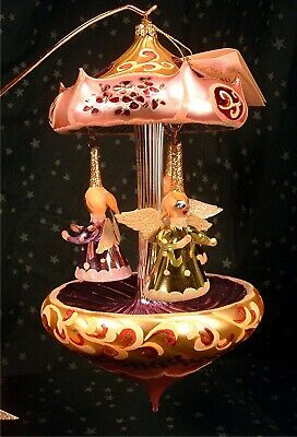Vintage Laved Made In Italy Hand Blown Glass Ornament Ltd. Ed.  Angel Carousel