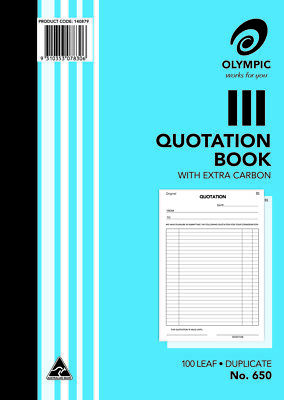 10  x   Olympic # 650 Quotation Book Duplicate A4   297mm x 210mm 100 Lf  140879