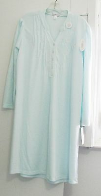 Miss Elaine Cuddleknit Long Sleeve Gown Aqua 216895 Sz M - NWT