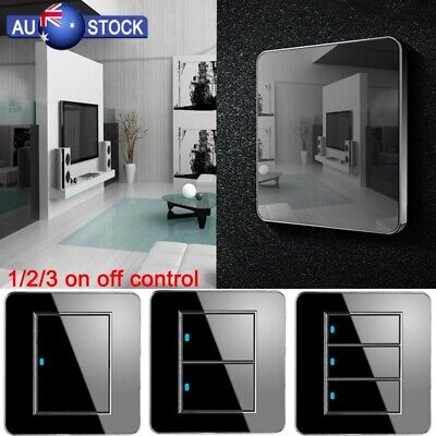 Acrylic 3 Gang LED Indicator Light Switch Wall Crystal Mirror Push Button Panel