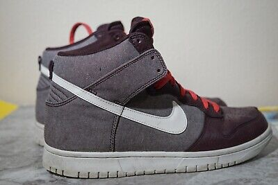 official photos effb4 7fd1a NIKE DUNK HIGH 317982-607 Mens 9 Maroon White Canvas Leather Basketball  Brown