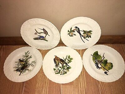 "(5) Alfred Meakin White Audubon Birds of America Luncheon Plates 8 3/4"" England"