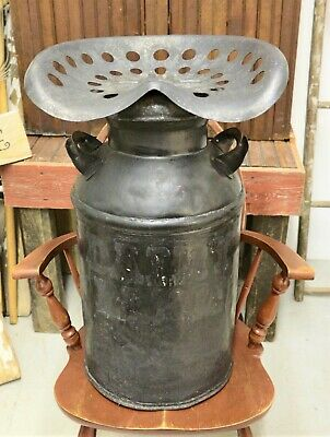 Repurposed Antique Primitive Stool 10 Gallon Milk Can with Tractor Seat