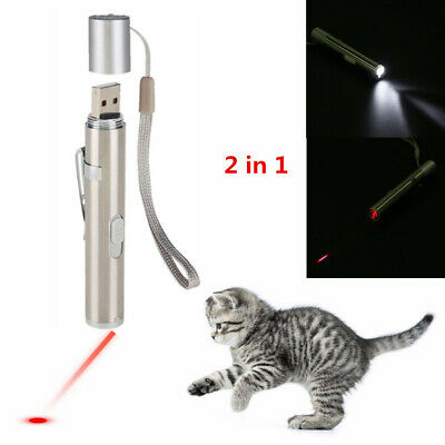 2 In 1 USB Rechargeable Red Laser Pointer Pen With White LED Light Cat Toy New