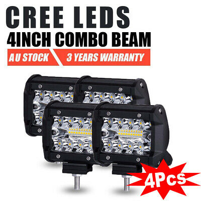 4pcs 4 inch 200W CREE LED Light Bar SPOT FLOOD 3Row Offroad Work Fog Lamp