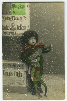 c 1912 Child Children KID w/ PAPER PUPPET german theater posters photo postcard