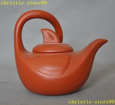 "5""Chinese Yixing Zisha Pottery Hand Carved Swan Bird Statue Tea pot Tea maker"